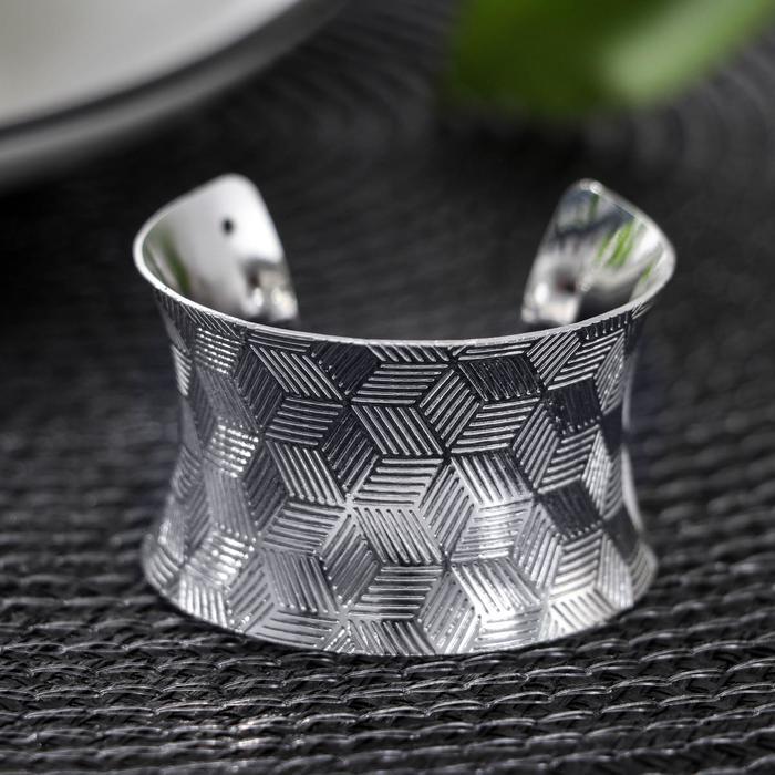 Кольцо для салфетки «Грани», 4×3,5 см, цвет серебряный - фото 496169
