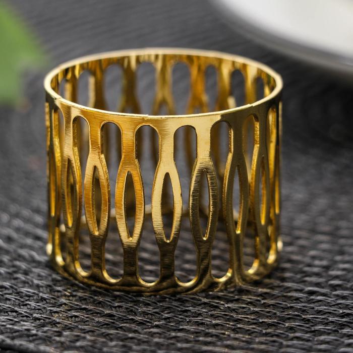 Кольцо для салфетки «Плетёнка», 4,5×3,5 см, цвет золотистый - фото 496172