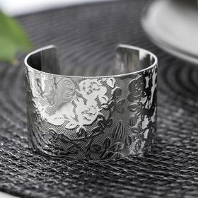 Кольцо для салфетки «Цветы», 5×3 см, цвет серебряный