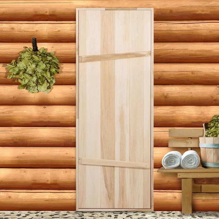 """Дверной блок для бани, 190×70см, из липы, на клиньях, массив, """"Добропаровъ"""""""