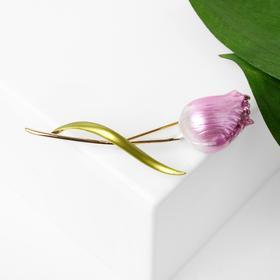 """Брошь """"Цветок"""" тюльпан пионовидный, цвет бело-розовый  в золоте"""