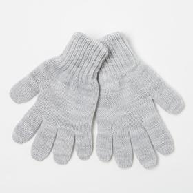 Gloves for girls, gray, size 14