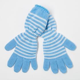 Перчатки для девочки, цвет голубой, размер 14