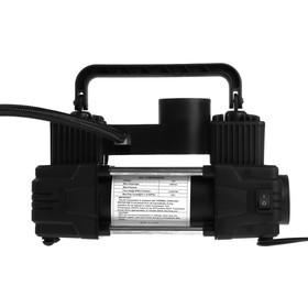 Компрессор автомобильный двухпоршневой в сумке, 12В, фонарь, 60 л/мин, черный