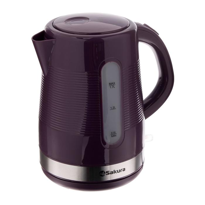 Чайник электрический Sakura SA-2343P, пластик, 1.7 л, 1850-2200 Вт, фиолетовый