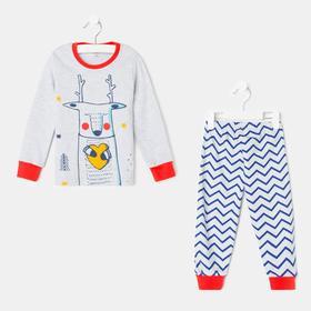 Пижама для мальчика, цвет серый/красный, рост 86-92 см