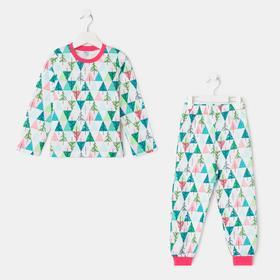 Пижама для девочки, цвет белый/розовый, рост 110-116 см