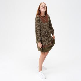 Платье для девочки, цвет хаки, 158-164 см (160)