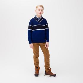 Брюки для мальчика утепленные, цвет коричневый, 134-140 см (140)