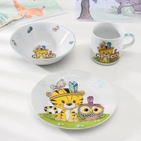 Набор детской посуды Доляна «Индейцы», 3 предмета: кружка 230 мл, миска 400 мл, тарелка 18 см