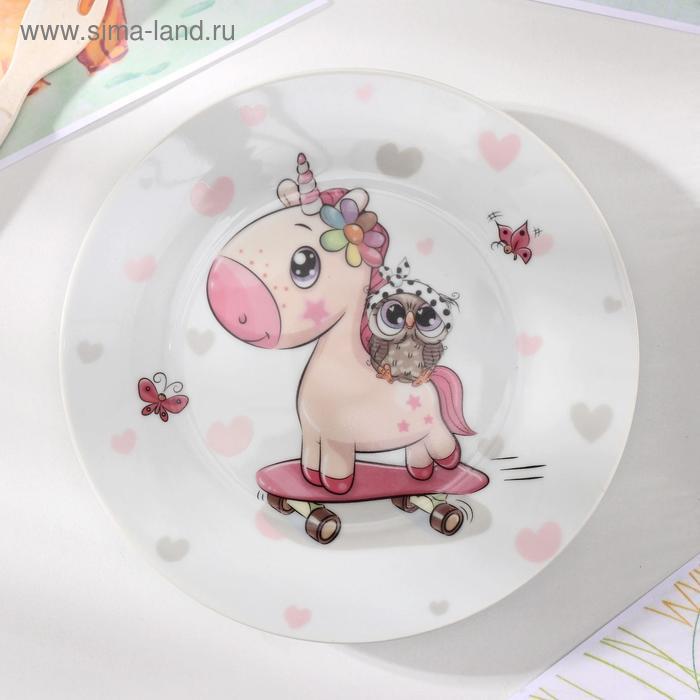 Owl and unicorn plate, 17.5 cm