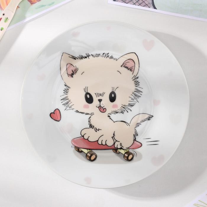 Тарелка Доляна «Котёнок на скейте», d=17,5 см - фото 496205