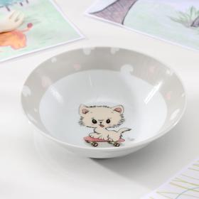 "Salad bowl ""Kitten on a skateboard"", 15 cm"