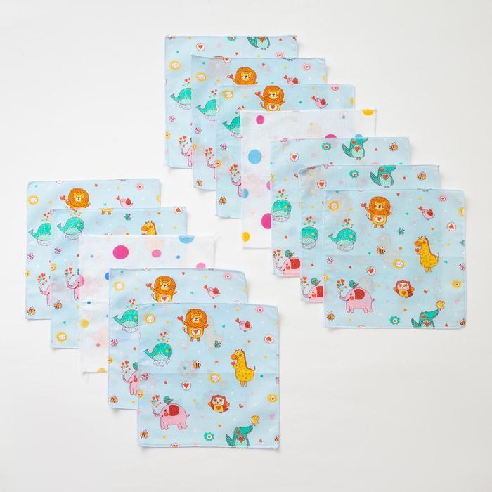 Набор носовых платков Крошка Я «Весёлые зверята», 21х21 см- 12 шт, цвет МИКС