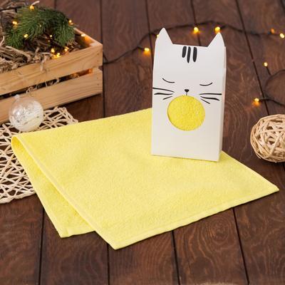 "Gift towel "" Cat "" 30*60 cm, color yellow, 100% cotton"
