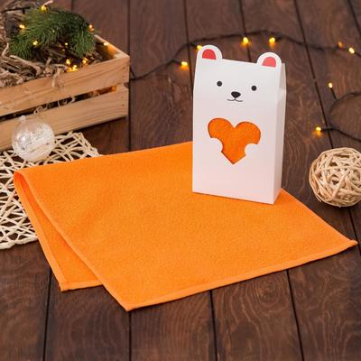 """Gift towel """"Bear with a heart"""" 30*60 cm, color orange, 100% cotton"""