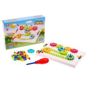Конструктор-мозаика винтовой «Создавай и играй», с отверткой