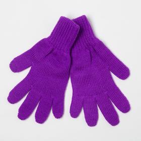Перчатки для девочки, цвет фиолетовый, размер 16