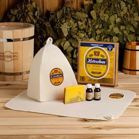 """Банный набор """"Новогоднее настроение"""" шапка, коврик, 2 масла, мыло"""