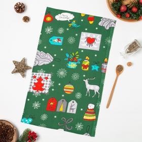Полотенце вафельное Рождество вид 3 33х60 см, зеленый, хлопок 100%, 150г/м2
