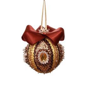 Новогодний шарик из пайеток «Коричневый» D: 7 см