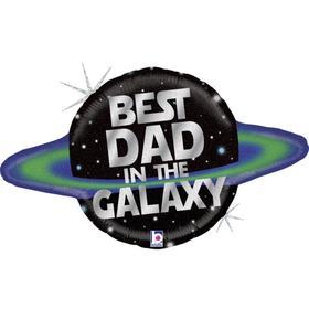"""Шар фольгированный 31"""" «Лучший папа в Галактике», фигрура, голография"""
