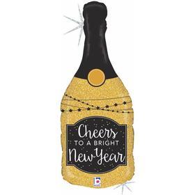 """Шар фольгированный 36"""" «Бутылка, новогоднее шампанское», фигура"""