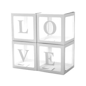A set of boxes for balloons Love, white, 30 * 30 * 30 cm, 4 pcs. 617656