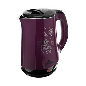 """Чайник электрический """"Добрыня"""" DO-1244, пластик, колба металл, 1.8 л, 2000 Вт, фиолетовый"""
