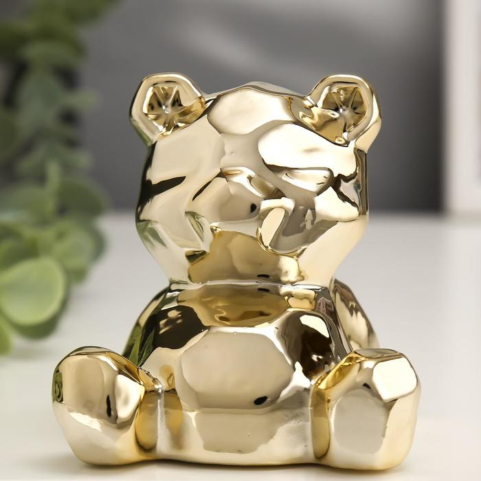 "Сувенир керамика ""Медвежонок"" золото 8х7х7,5 см"