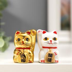"Сувенир керамика ""Кот Манэки-нэко белый и золотой"" набор 2 шт 5х3,3х3 см"