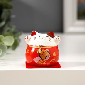 "Souvenir ceramics ""cat Maneki-neko bright with a bell"" MIX 5x5, 2x4, 6 cm"