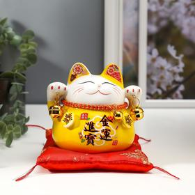 "Сувенир керамика копилка ""Жёлтый кот Манэки-нэко с колокольчиками"" 11,5х11,5х9,5 см"
