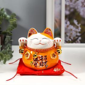 "Сувенир керамика копилка ""Оранжевый кот Манэки-нэко с колокольчиками"" 11,5х11,5х9,5 см"