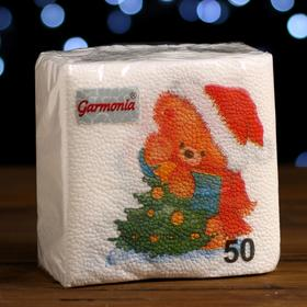 """Салфетки бумажные Гармония цвета многоцветие """"Медвежонок"""", 24*24 см 50 листов"""