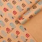 "Craft packaging paper ""Domiki"", 50 × 70 cm"