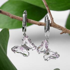"""Earrings with rhinestones """"Butterfly"""" transparent, pink-orange color in silver"""