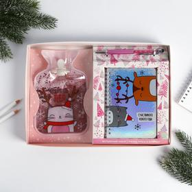 """Set """"I will warm you"""", hot water bottle, Notepad, pen"""