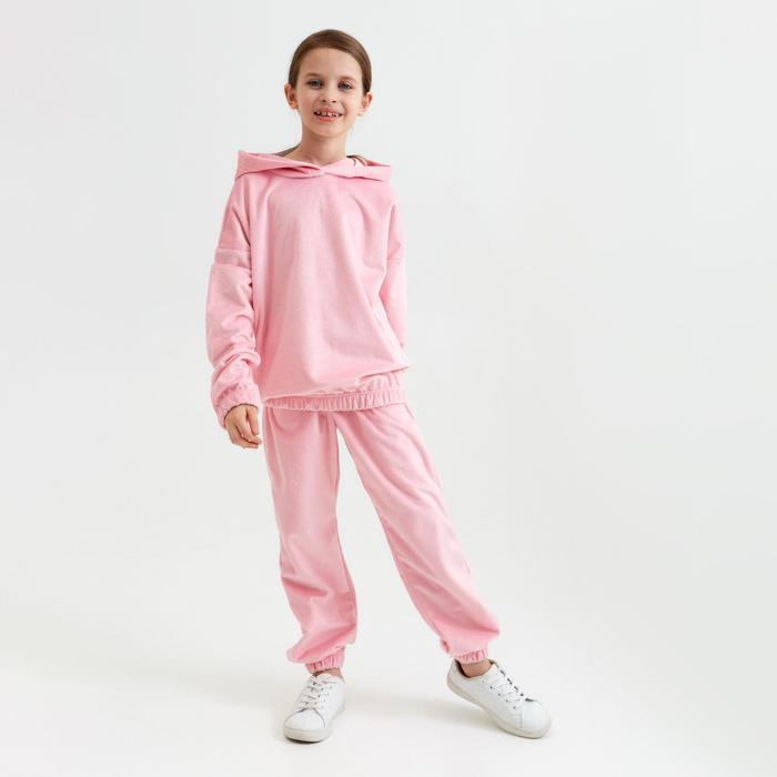 Костюм для девочки (худи, брюки) MINAKU цвет розовый, рост 134 - фото 76813868