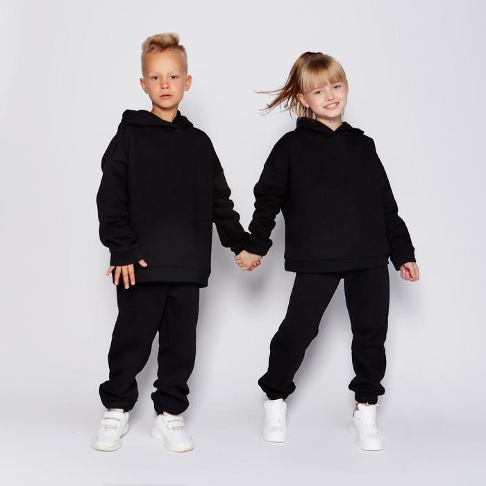 Костюм детский (худи, брюки) MINAKU, цвет чёрный, рост 110 - фото 76569071