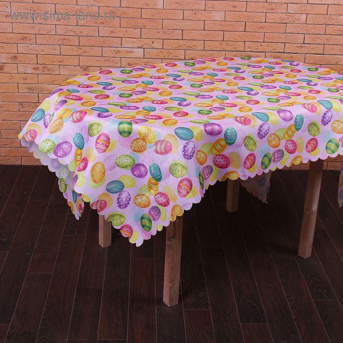 Скатерть пасхальная розовая 140 х 180 см, 100% полиэстр