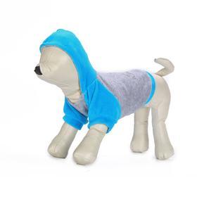 Толстовка с капюшоном Osso для собак, велюр, размер 30 (ДС 30, ОГ 37-39 см), бирюзовая