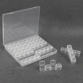 Контейнер для декора, 14 блоков по 4 ячейки, 21 × 17,5 × 2,7 см, цвет прозрачный