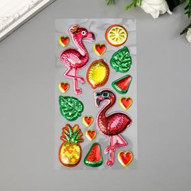 "Sticker plastic convex gloss shimmer ""Flamingo"" MIX 22, 5x10, 5 cm"