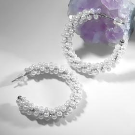 Pearl ring earrings, d=3,5, white in silver