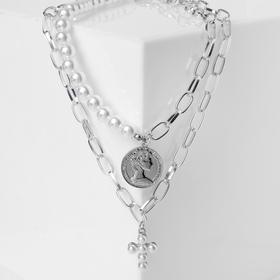 """Кулон """"Цепь"""" крест жемчужный, двойной, цвет белый в серебре, L=50 см"""