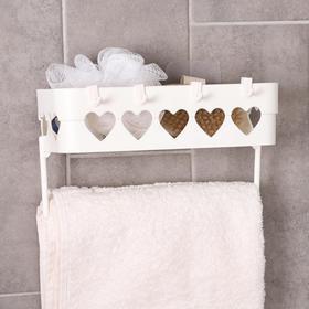 Держатель для ванных принадлежностей на липучке «Сердца», 26×10,5×6,7 см, цвет МИКС - фото 4650954
