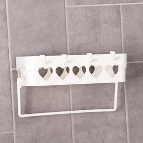 Держатель для ванных принадлежностей на липучке «Сердца», 26×10,5×6,7 см, цвет МИКС - фото 4650955