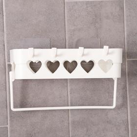 Держатель для ванных принадлежностей на липучке «Сердца», 26×10,5×6,7 см, цвет МИКС - фото 4650956