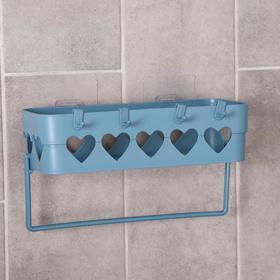 Держатель для ванных принадлежностей на липучке «Сердца», 26×10,5×6,7 см, цвет МИКС - фото 4650957